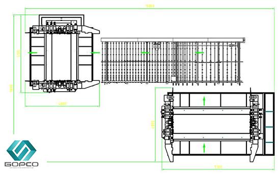 Sơ đồ máy mài kính song cạnh nối tiếp DDE2042-DDE2025